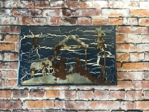 Nativity scene with Crackle Paint